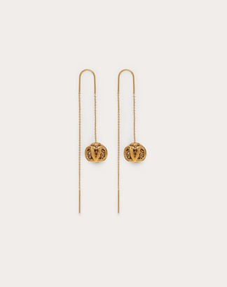 Valentino Vlogo Signature Metal And Crystal Earrings Women Gold/black Brass 100% OneSize