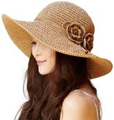 Siggi Summer Floppy Straw Beach Sun Hat Foldable Wide Brim UPF for Women 56-58CM Beige