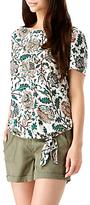 Sugarhill Boutique Zia Tropical Print Tie Top, Cream/Multi