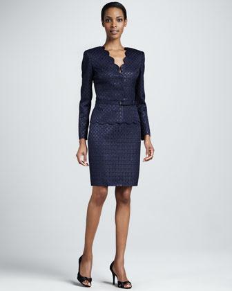 Albert Nipon Lattice-Jacquard Skirt Suit