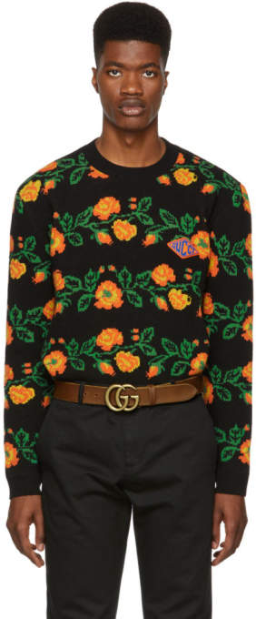 Gucci Black Jacquard Floral Sweater