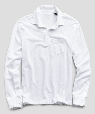 Todd Snyder Made In L.A. Slub Jersey Long Sleeve Polo in White