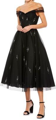 Mac Duggal Off the Shoulder Beaded Chiffon Midi Dress