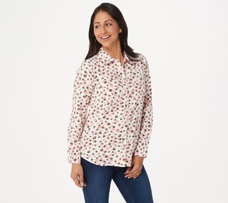 Denim & Co. Stretch Crepe Printed Dot Point Collar Shirt