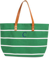 Cathy's Concepts Personalized Green Striped Tote with Leather Handles