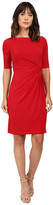 London Times Matte Jersey Sheath Dress w/ Ruching