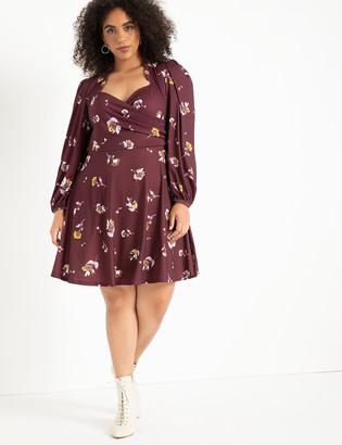 ELOQUII Puff Sleeve Sweetheart Dress