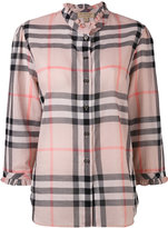 Burberry ruffled detail checked shirt - women - Cotton - 4