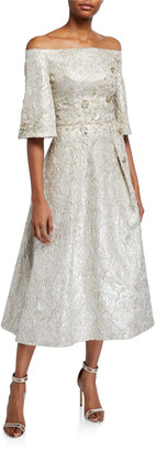 Theia Beaded Metallic Jacquard Off-the-Shoulder Bell-Sleeve Midi Dress
