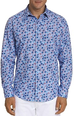 Robert Graham Finish Line Cotton Floral Woodblock Print Classic Fit Button Down Shirt