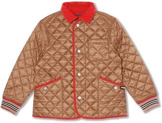 BURBERRY KIDS Icon Stripe trim lightweight diamond quilted jacket