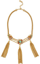 Ben-Amun Gold-Plated Tasseled Stone And Crystal Necklace