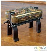 Novica Handcrafted Mohena Wood Leather 'Bird of Paradise' Stool (Peru)
