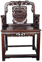 One Kings Lane Vintage Antique Chinese Carved Rosewood Chair - FEA Home - brown