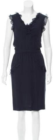 Valentino Sheath Ruffle-Trimmed Dress w/ Tags