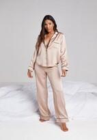 Missguided Mink Long Sleeve Piped Trim Pyjama Set