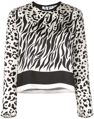 Pinko Multi-Print Round Neck Blouse