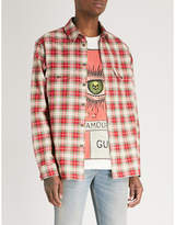 Gucci Embroidered tartan cotton-flannel shirt