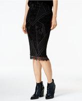 Bar III Velvet-Burnout Pencil Skirt, Only at Macy's
