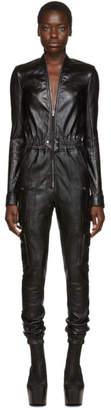 Rick Owens Black Leather Cargo Bodybag Jumpsuit