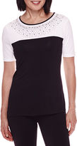 Sag Harbor Short-Sleeve Modern Geo Colorblock Beaded Top