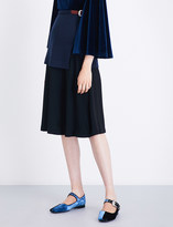 Toga A-line wool-jersey and crepe skirt