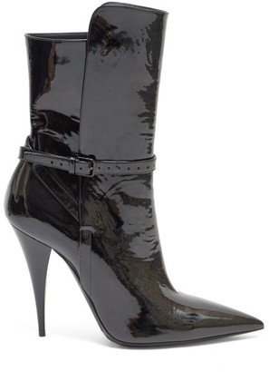 Saint Laurent Kiki Point Toe Patent Leather Boots - Womens - Black