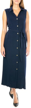 Nina Leonard Women's Maxi Shirtdress
