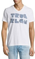 True Religion Logo-Graphic V-Neck Short-Sleeve Tee, Optic White
