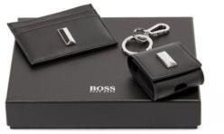 HUGO BOSS Leather Card Holder And Headphone Case Gift Set - Black