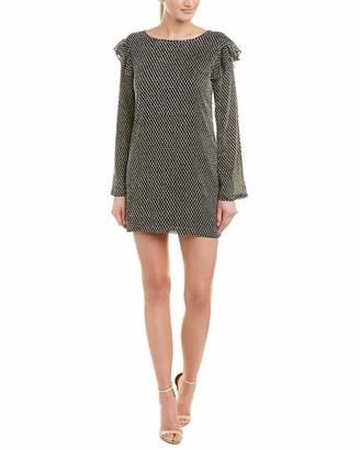 Ali & Jay Women's Soft Burnout DOT Longsleeve Mini Dress with Ruffles Black/White