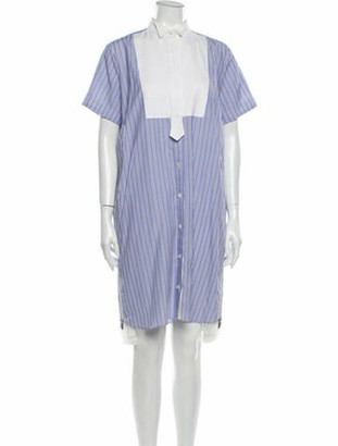 Sacai Striped Knee-Length Dress Blue