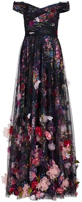 Marchesa 3D Floral Embroidered Tulle Gown