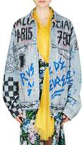 Balenciaga Women's Graffiti-Print Denim Oversized Jacket