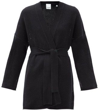 Allude Belted Wool-blend Cardigan - Black