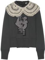 Marc Jacobs Crochet-trimmed Appliquéd Wool-blend Sweater - Dark gray