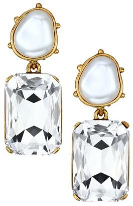 Oscar de la Renta Faux Pearl & Swarovski Crystal Octagon Clip-On Drop Earrings