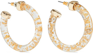 Kenneth Jay Lane 22-karat Gold-plated Resin Hoop Earrings