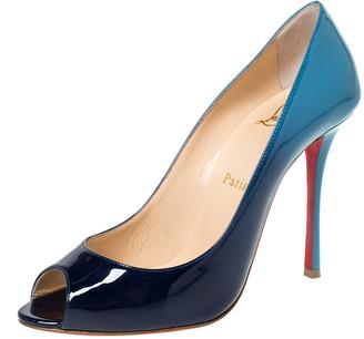 Christian Louboutin Two Tone Patent Leather Yootish Peep Toe Pumps Size 38.5