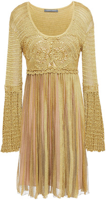 Alberta Ferretti Pleated Metallic Crochet-knit Dress