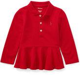 Ralph Lauren Girl Cotton Mesh Peplum Polo Shirt