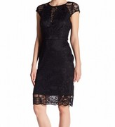 GUESS Black Lace Cap-Sleeve Women's Size 8 Illusion Sheath Dress