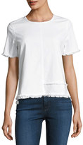 AG Adriano Goldschmied Tawny Raw-Edge Short-Sleeve Tee, White