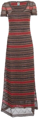 M Missoni Striped Short Sleeve Maxi Dress