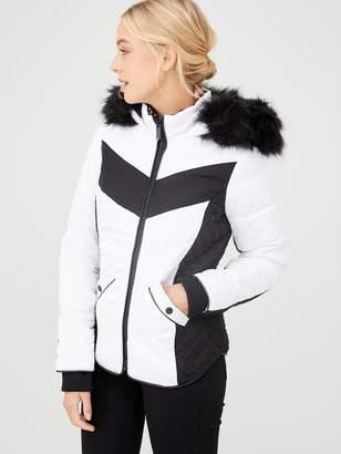 River Island Mono Colourblock Faux Fur Hood Padded Jacket-white