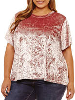 Boutique + + Short Sleeve Split Back Velvet Blouse-Plus