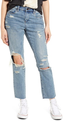 Blank NYC Ripped Straight Leg Ankle Jeans