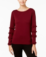 NY Collection Petite Ruffle-Sleeve Sweater