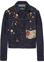 Dolce & Gabbana Flocked Jacquard-trimmed Embellished Denim Jacket - Dark denim