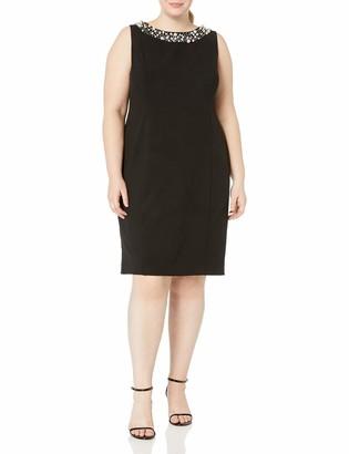 Calvin Klein Women's Plus Size Sheath Dress with Pearl Neck
